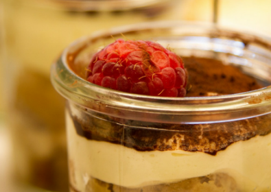 5 Minute Healthy Tiramisu with Raspberries