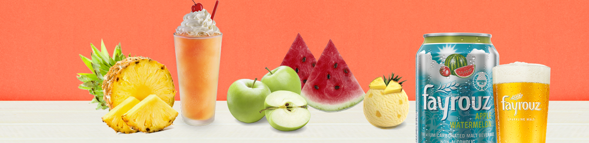 Fayrouz Watermelon & Apple With Pineapple Ice Cream Smoothie